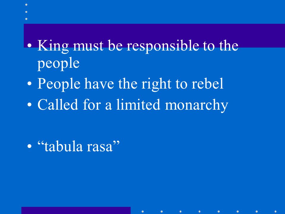 King must be responsible to the people