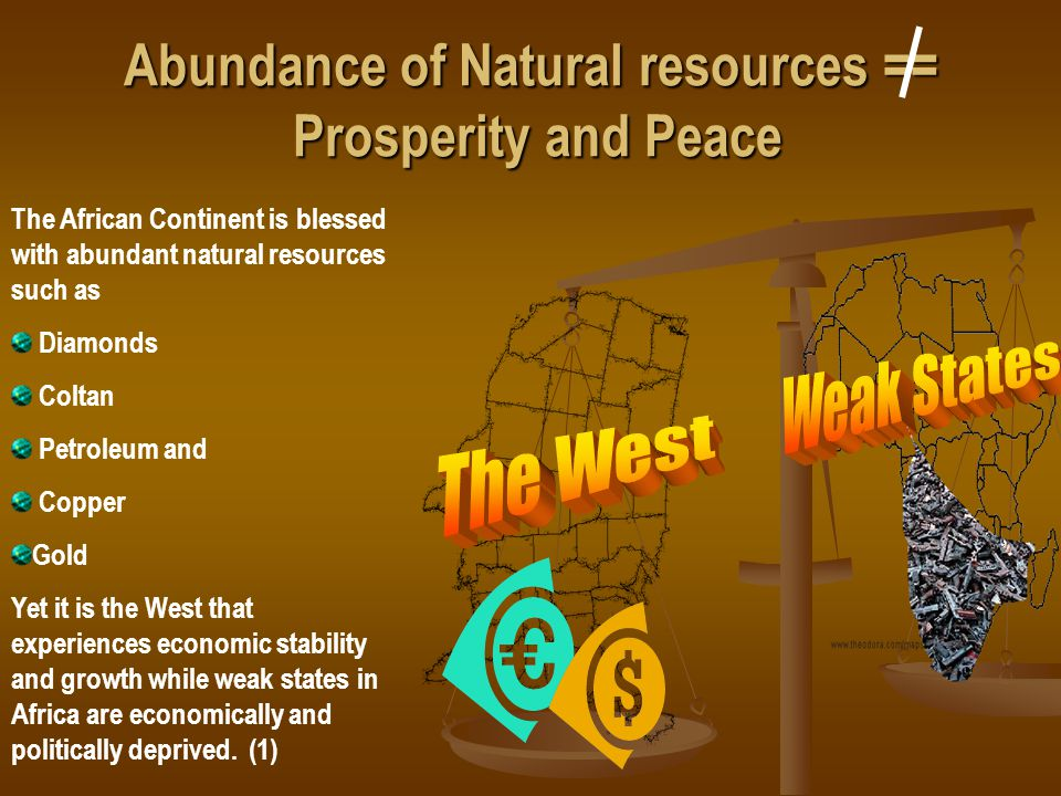 Abundance of Natural resources == Prosperity and Peace