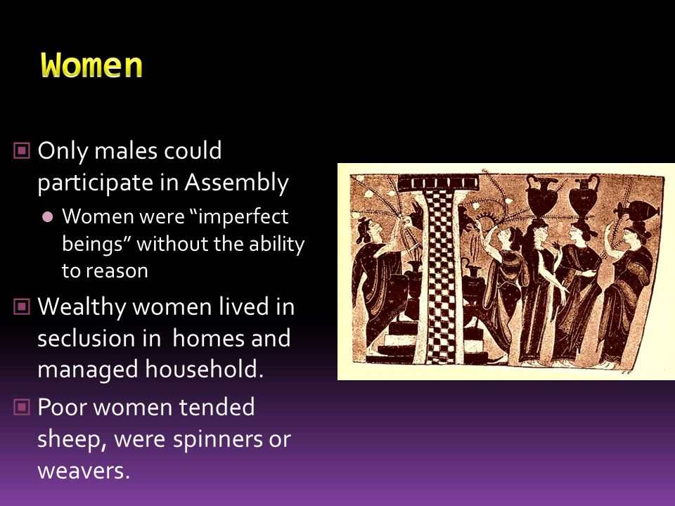 Women Only males could participate in Assembly
