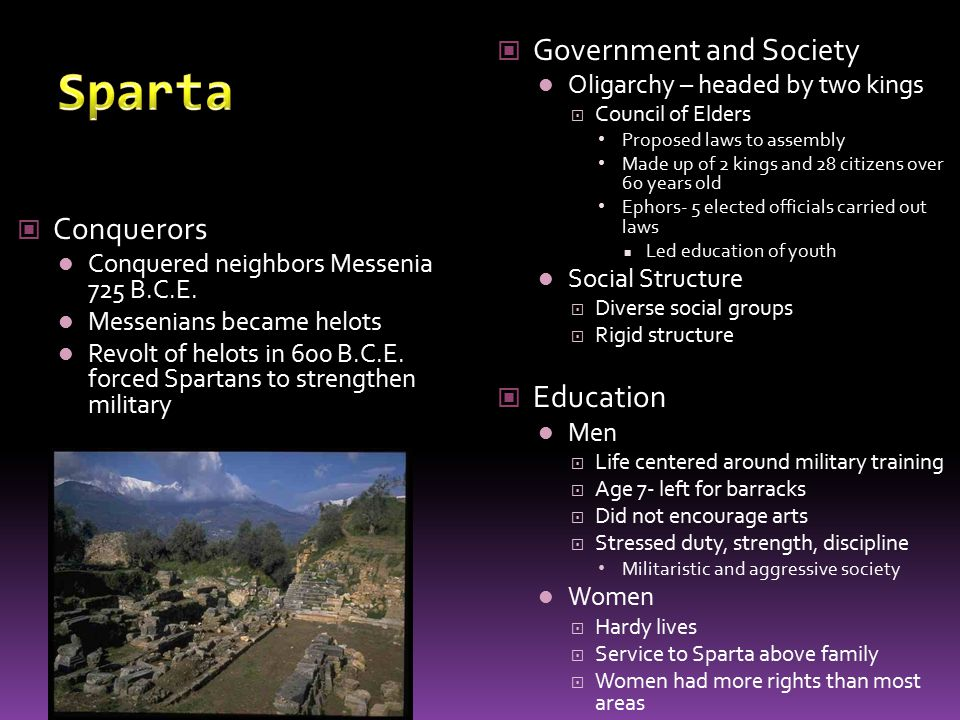Sparta Government and Society Conquerors Education