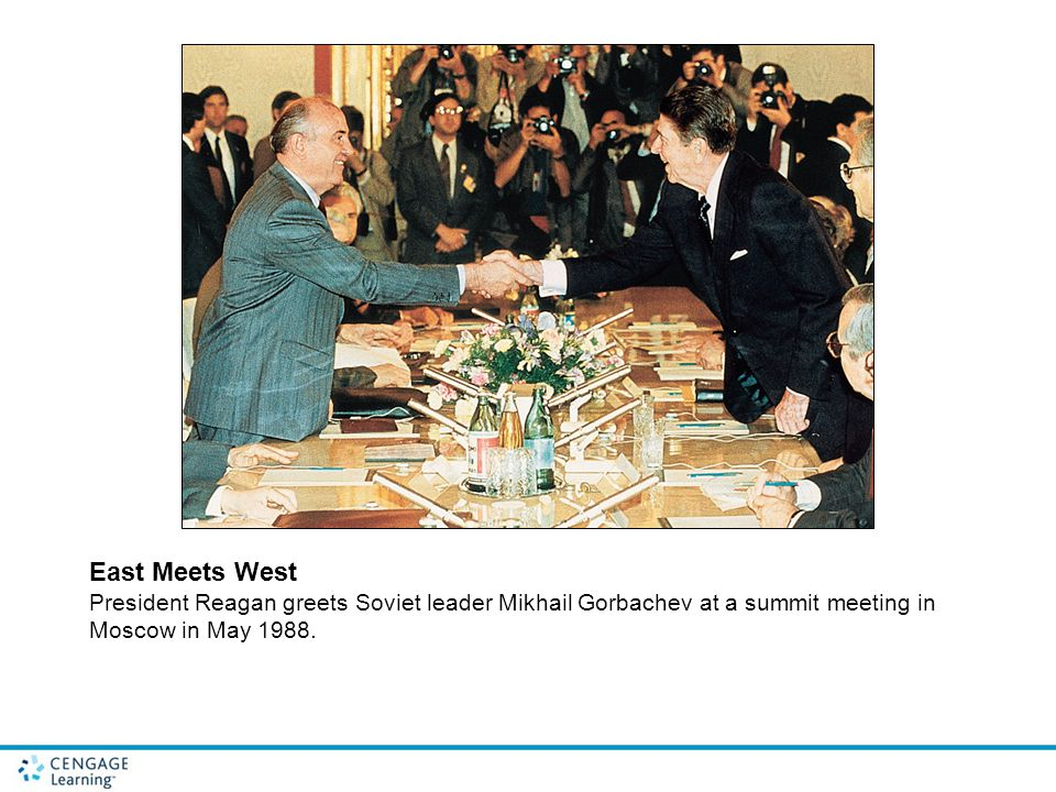 East Meets West President Reagan greets Soviet leader Mikhail Gorbachev at a summit meeting in Moscow in May 1988.