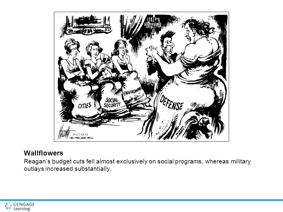 Wallflowers Reagan's budget cuts fell almost exclusively on social programs, whereas military outlays increased substantially.