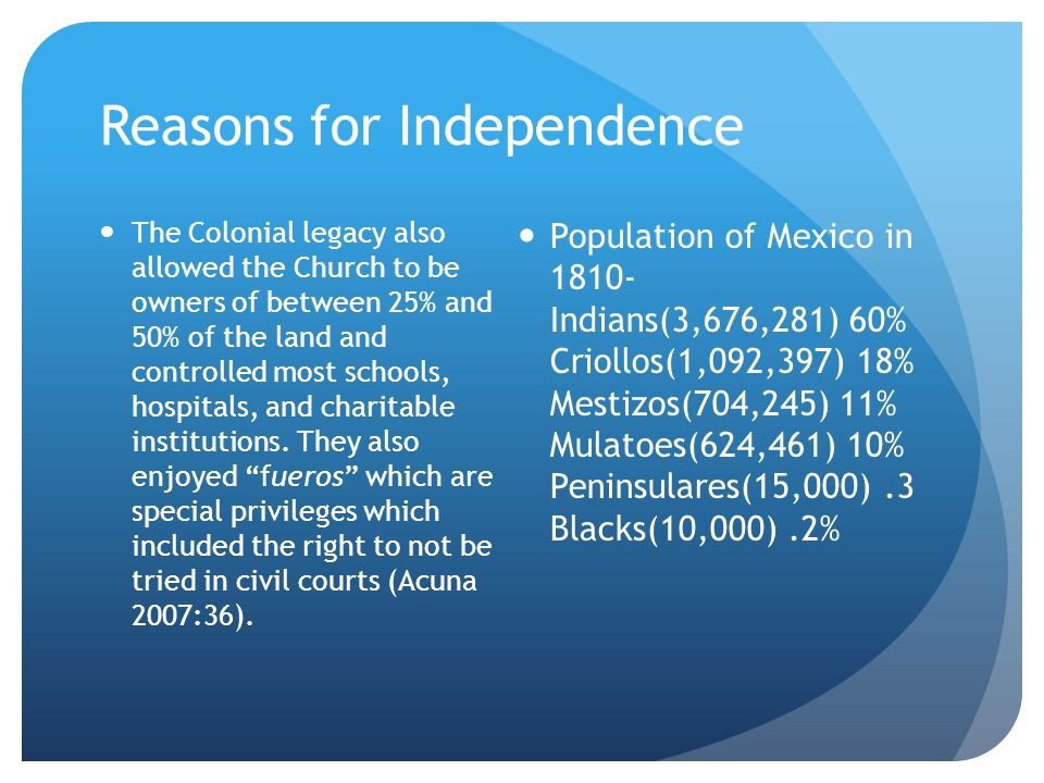 Reasons for Independence