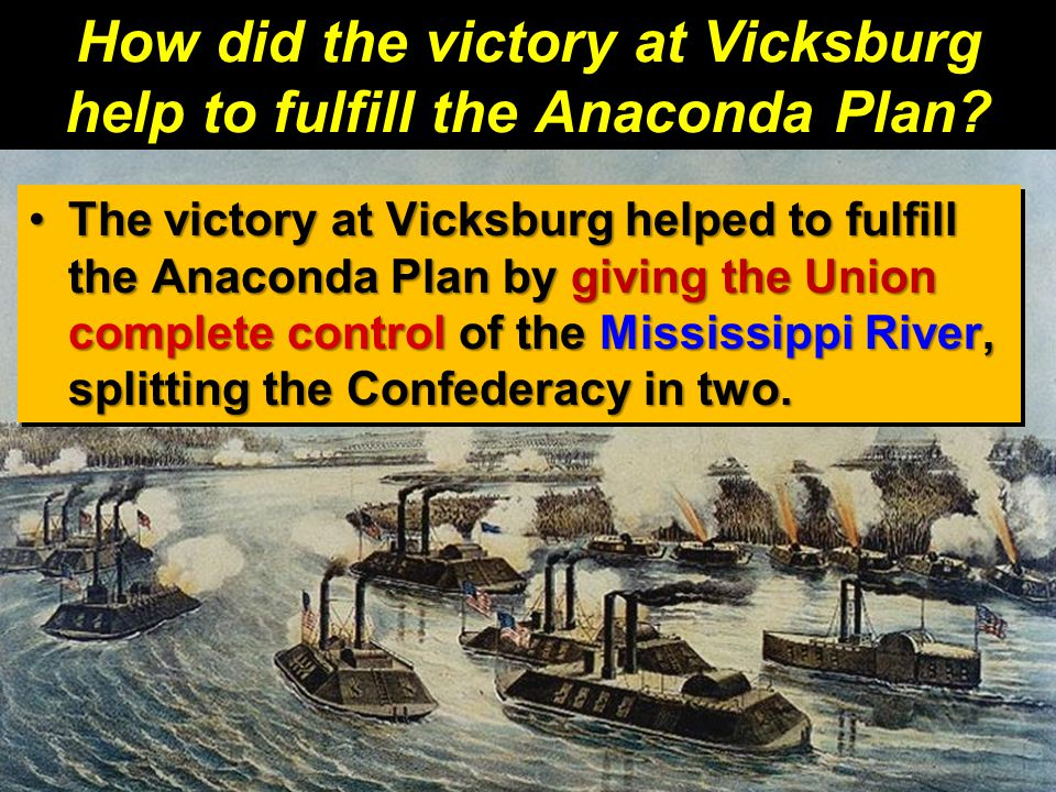 How did the victory at Vicksburg help to fulfill the Anaconda Plan
