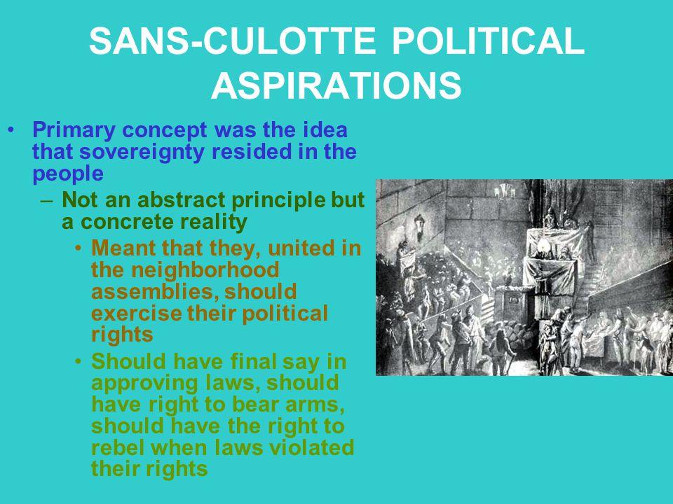 SANS-CULOTTE POLITICAL ASPIRATIONS