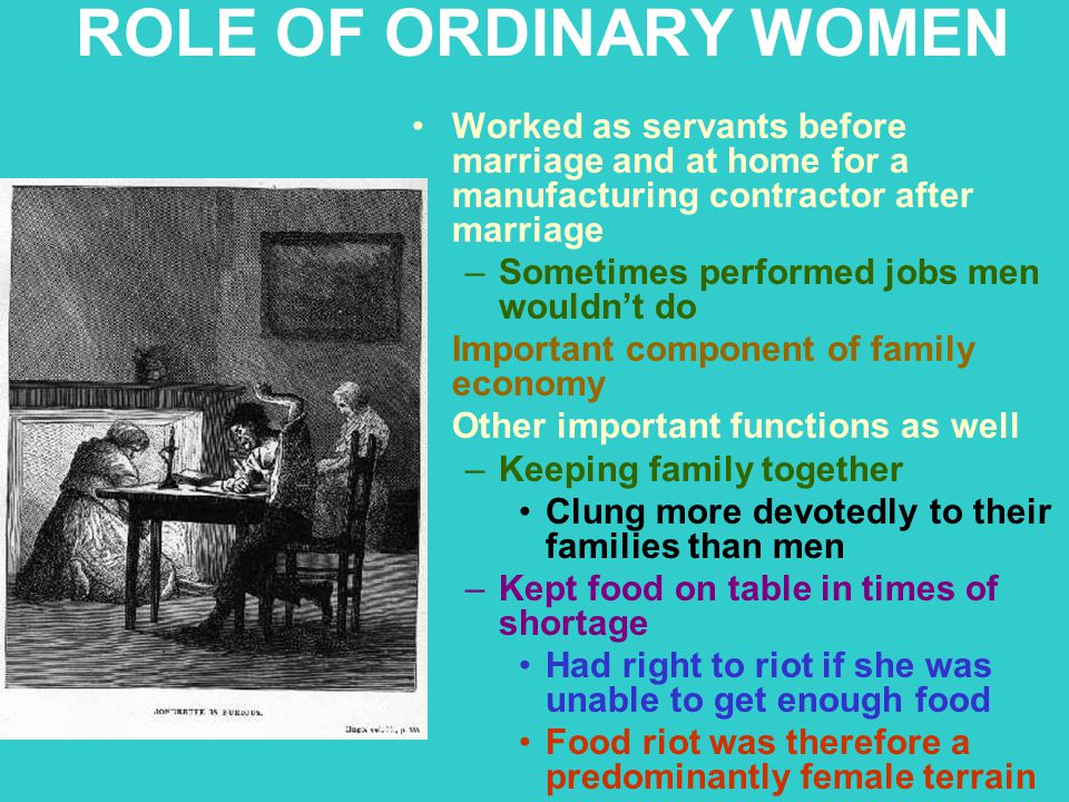 ROLE OF ORDINARY WOMEN Worked as servants before marriage and at home for a manufacturing contractor after marriage.