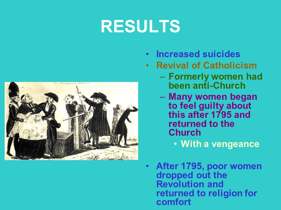 RESULTS Increased suicides Revival of Catholicism