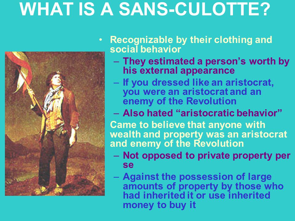WHAT IS A SANS-CULOTTE Recognizable by their clothing and social behavior. They estimated a person's worth by his external appearance.