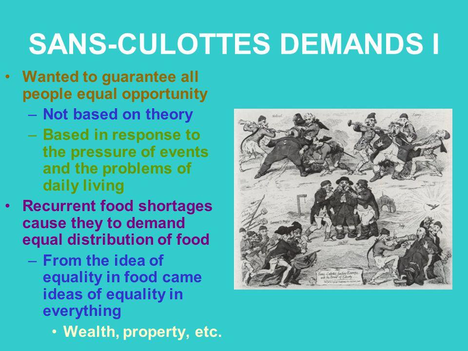 SANS-CULOTTES DEMANDS I