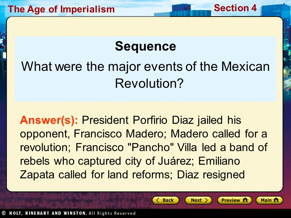 What were the major events of the Mexican Revolution