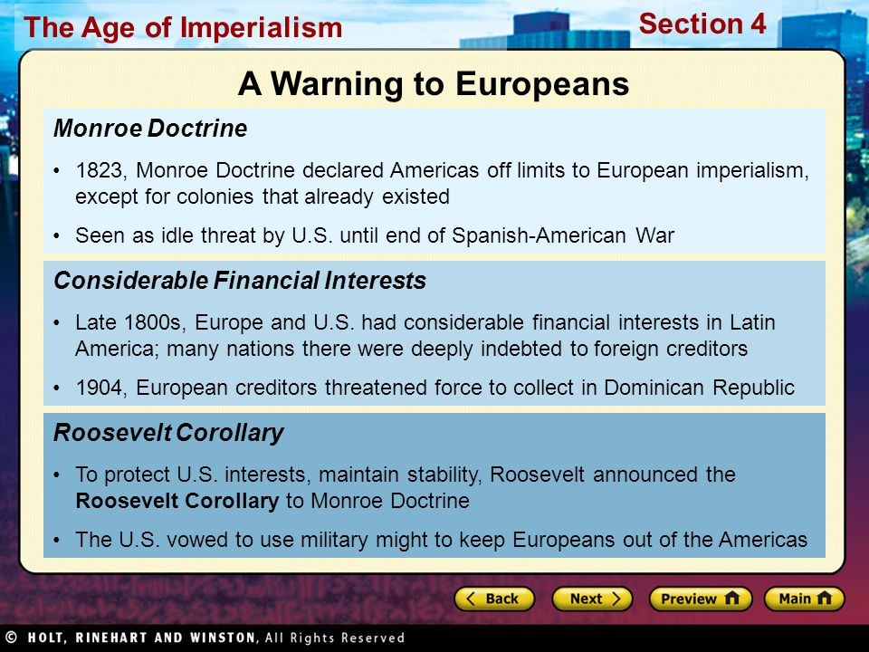 A Warning to Europeans Monroe Doctrine