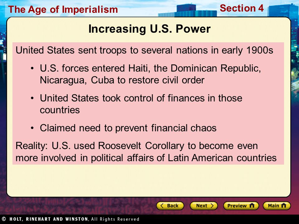 Increasing U.S. Power United States sent troops to several nations in early 1900s.