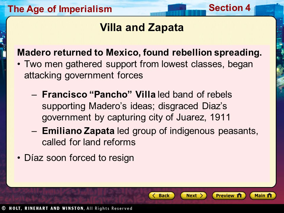 Villa and Zapata Madero returned to Mexico, found rebellion spreading.
