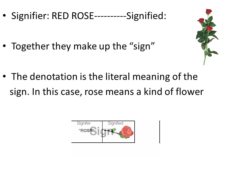 Signifier: RED ROSE----------Signified: