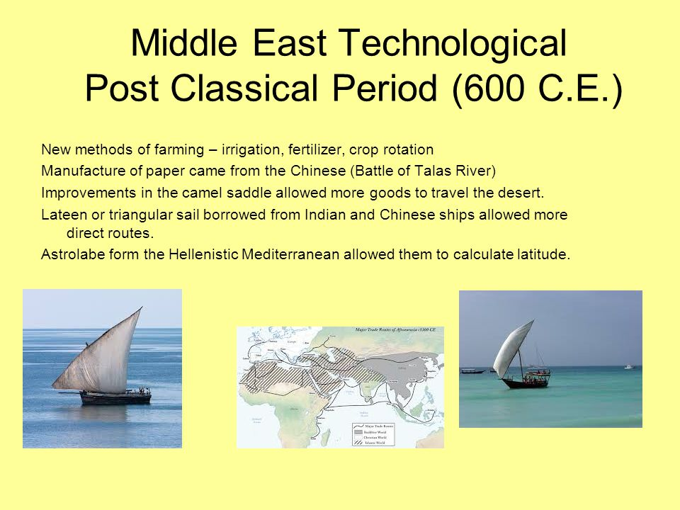 Middle East Technological Post Classical Period (600 C.E.)