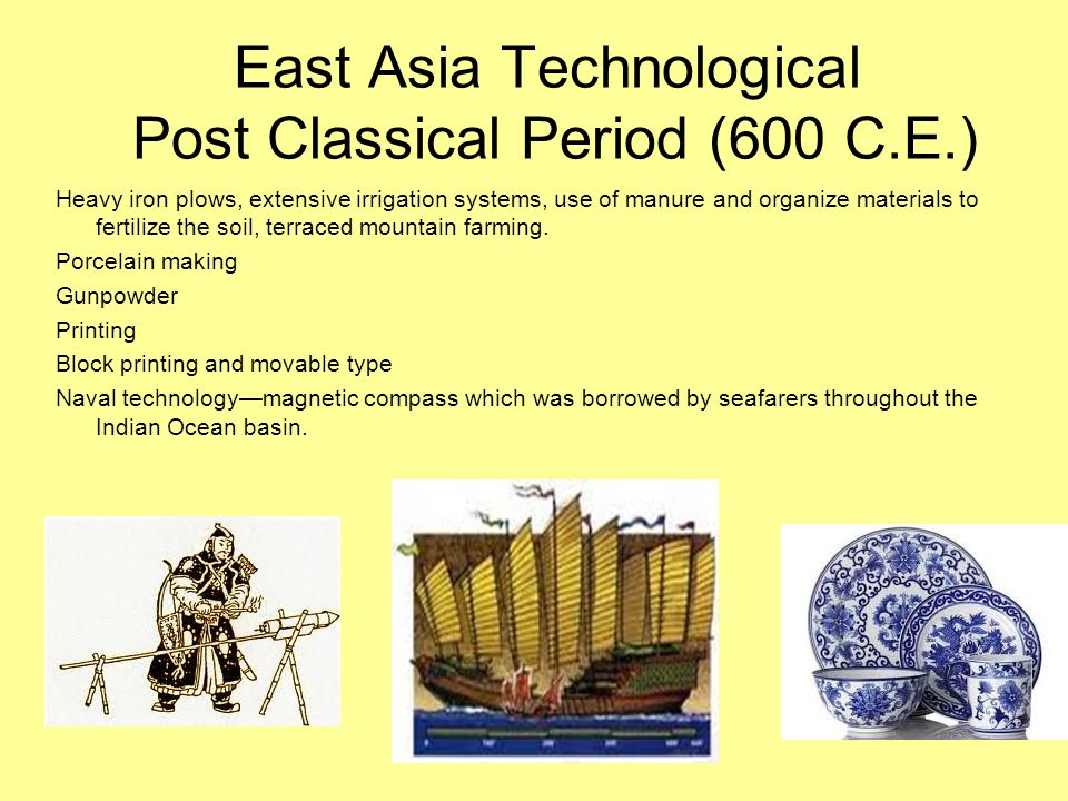 East Asia Technological Post Classical Period (600 C.E.)