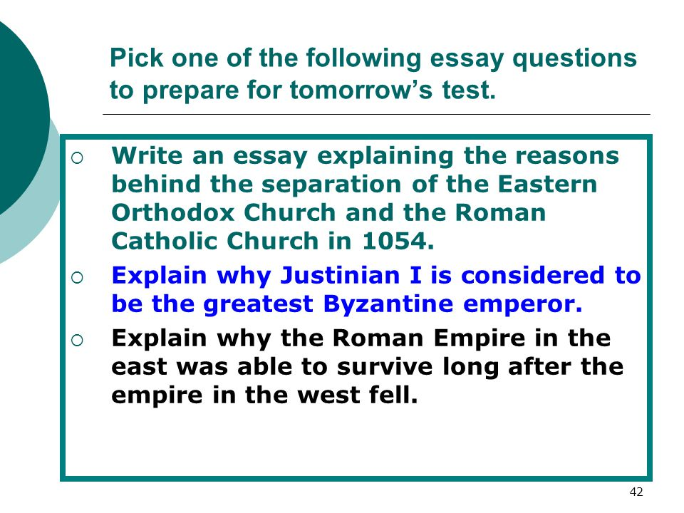 Pick one of the following essay questions to prepare for tomorrow's test.