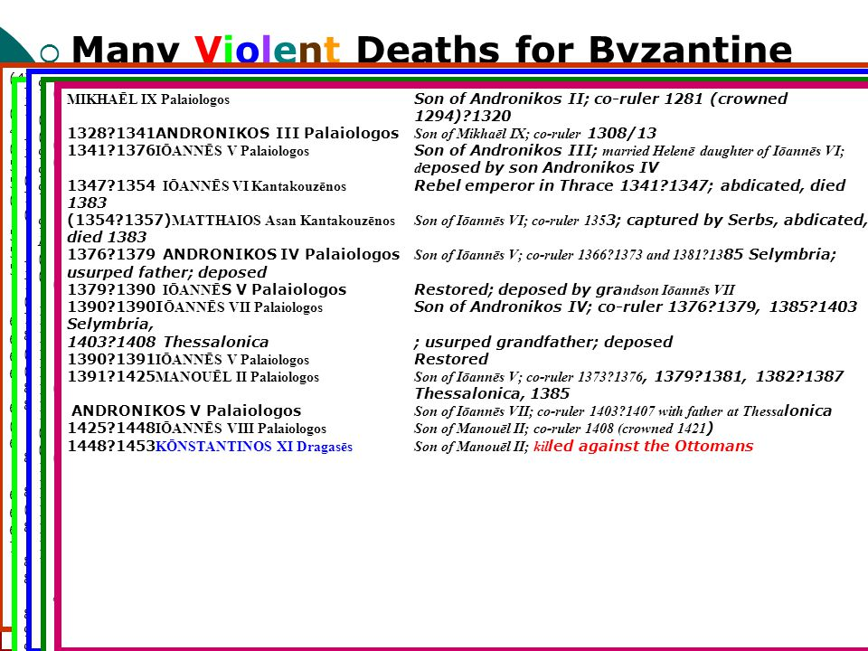 Many Violent Deaths for Byzantine Emperors