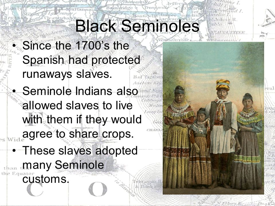 Black Seminoles Since the 1700's the Spanish had protected runaways slaves.
