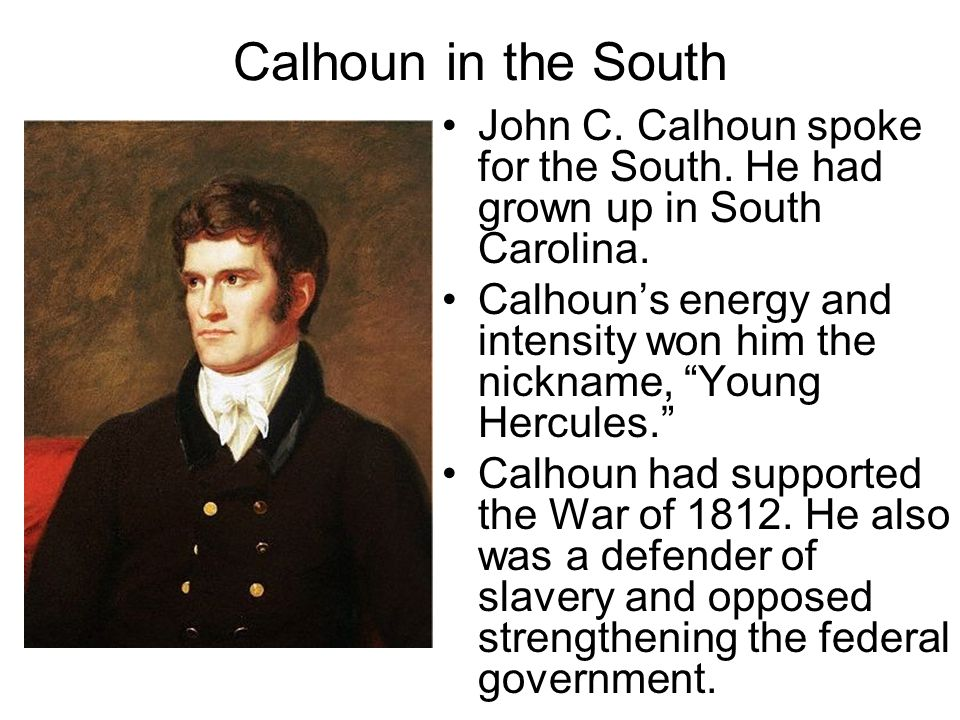 Calhoun in the South John C. Calhoun spoke for the South. He had grown up in South Carolina.