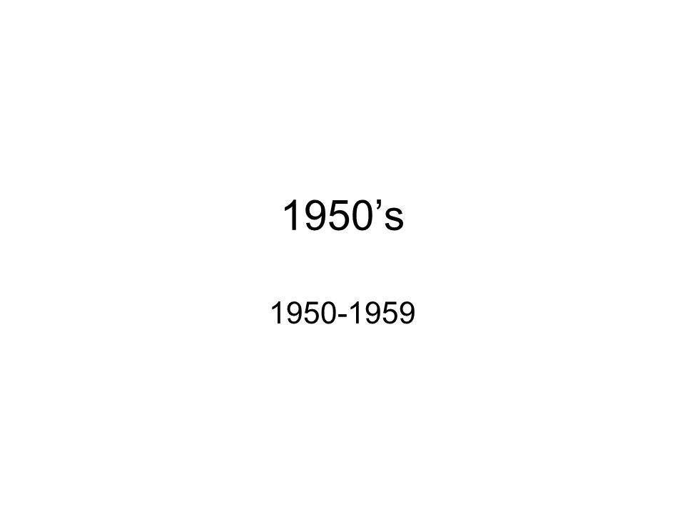 1950's 1950-1959
