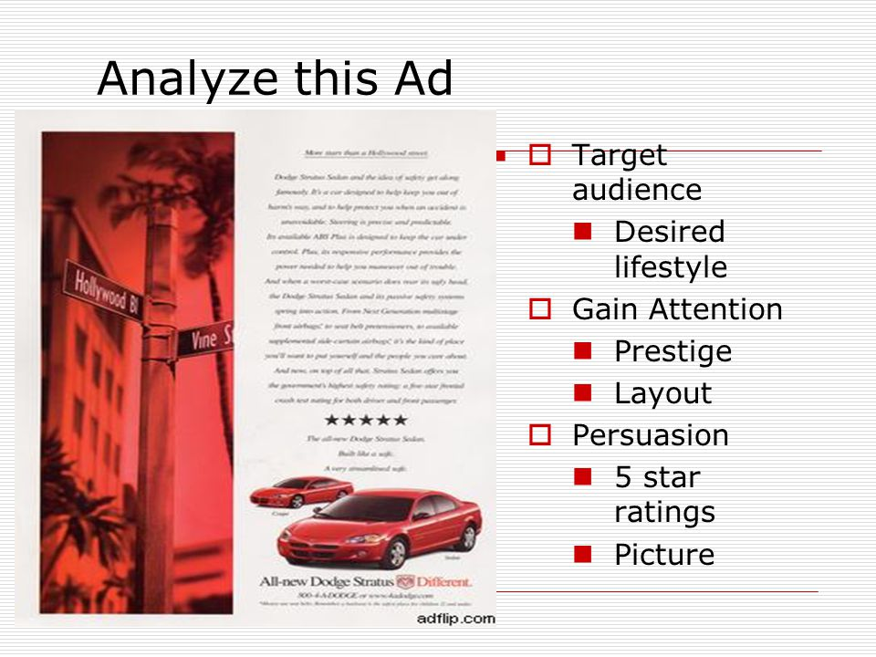 Analyze this Ad Target audience Desired lifestyle Gain Attention