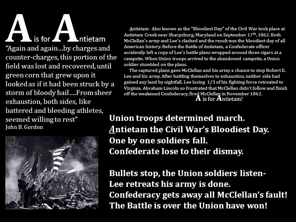 A is for Antietam Antietam the Civil War's Bloodiest Day.