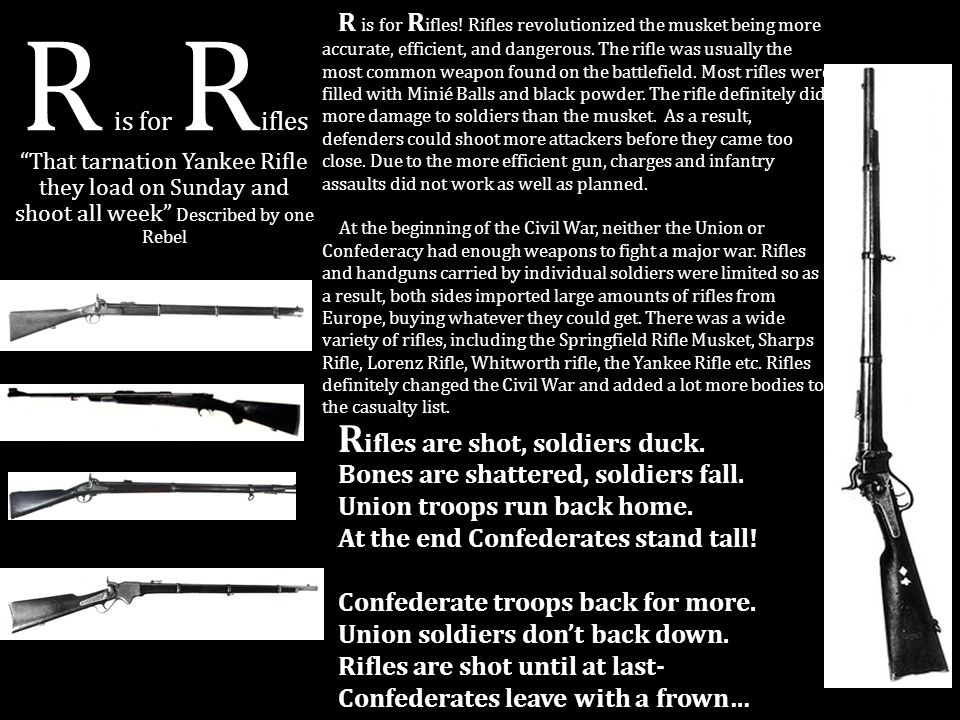 R is for Rifles Rifles are shot, soldiers duck.