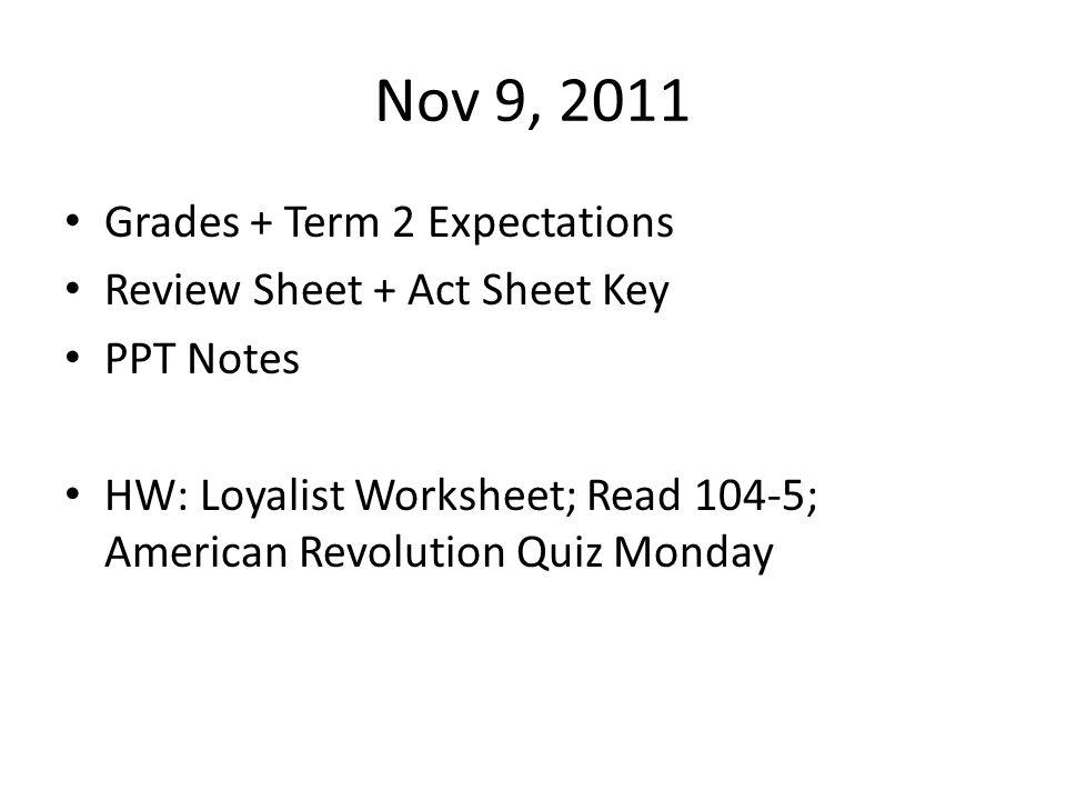 Nov 9, 2011 Grades + Term 2 Expectations Review Sheet + Act Sheet Key