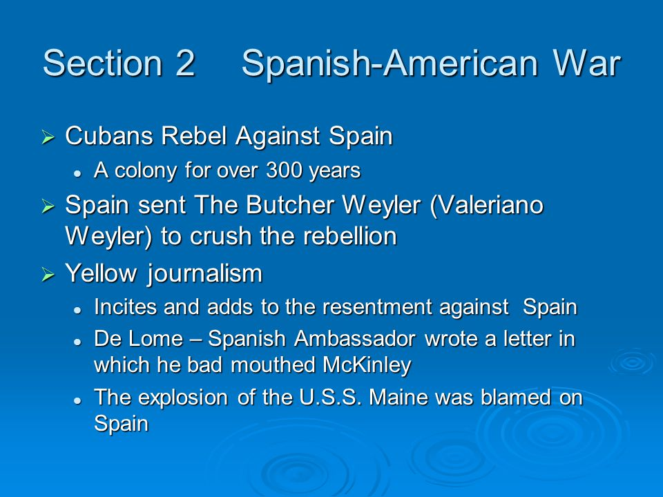Section 2 Spanish-American War