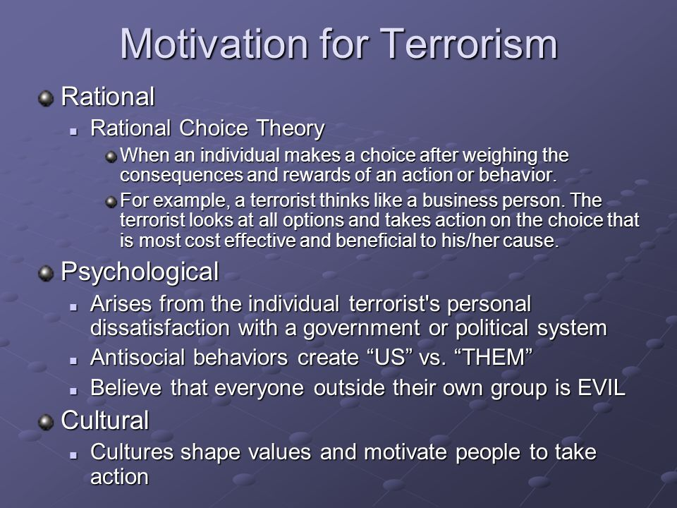 Motivation for Terrorism