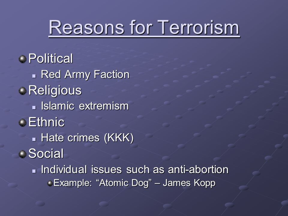 Reasons for Terrorism Political Religious Ethnic Social