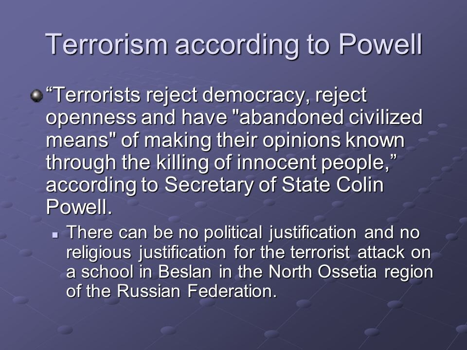 Terrorism according to Powell
