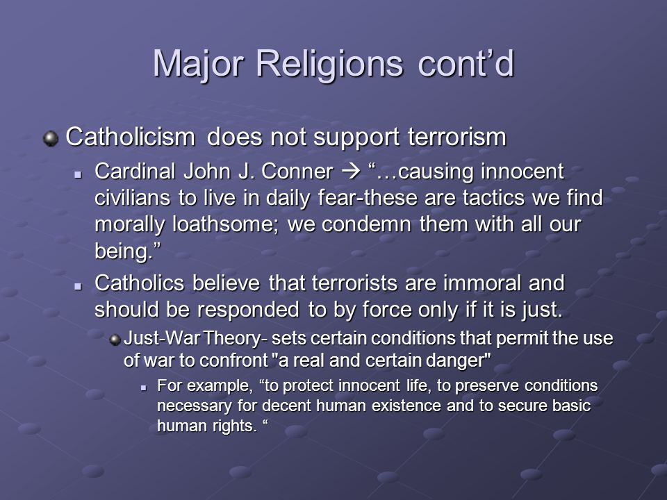 Major Religions cont'd