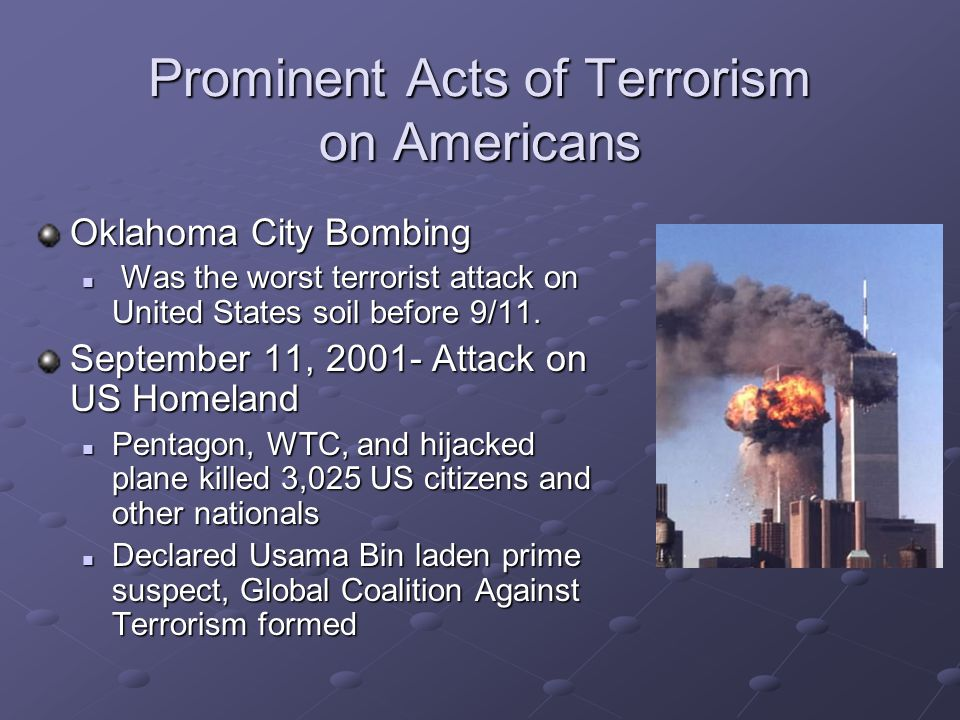 Prominent Acts of Terrorism on Americans