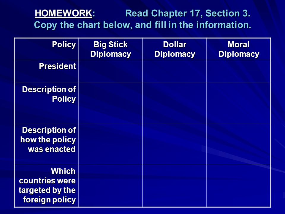 HOMEWORK: Read Chapter 17, Section 3