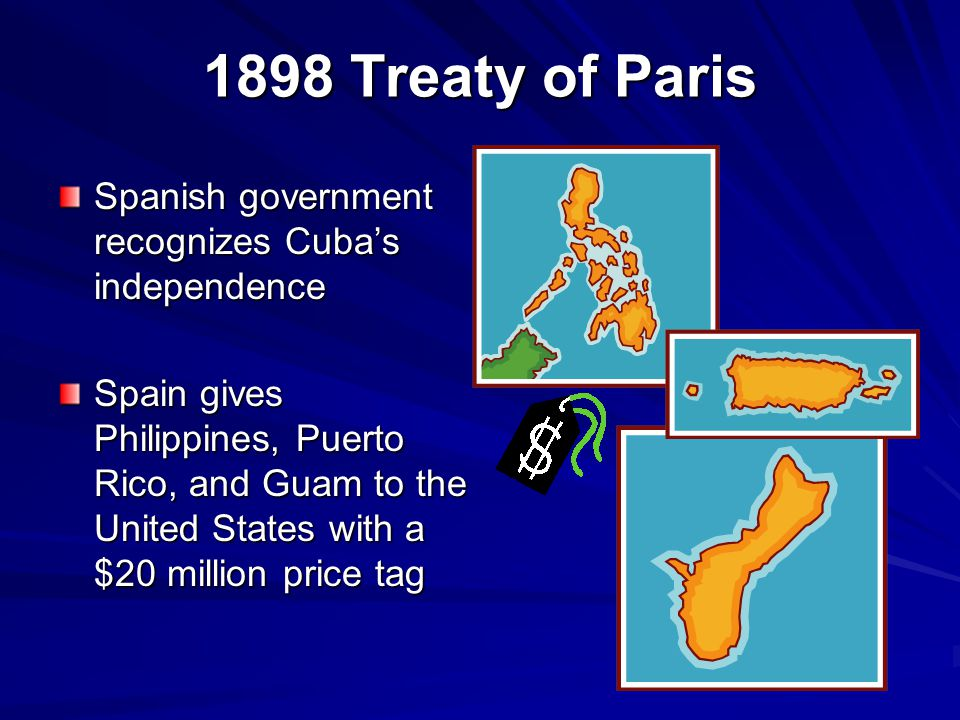 1898 Treaty of Paris Spanish government recognizes Cuba's independence
