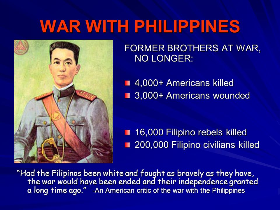 WAR WITH PHILIPPINES FORMER BROTHERS AT WAR, NO LONGER: