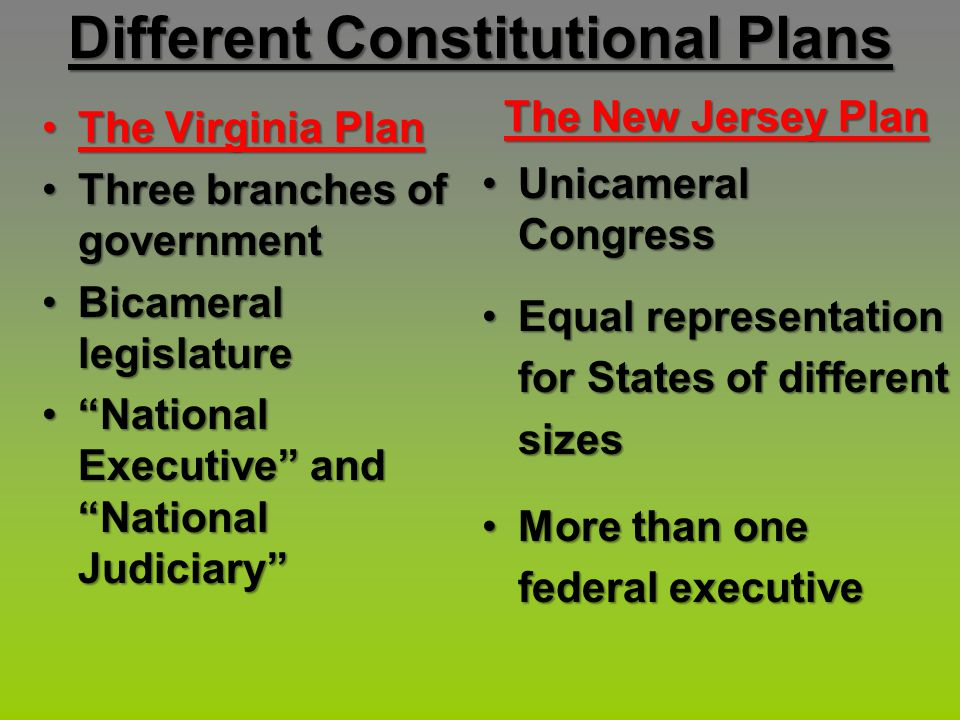 Different Constitutional Plans