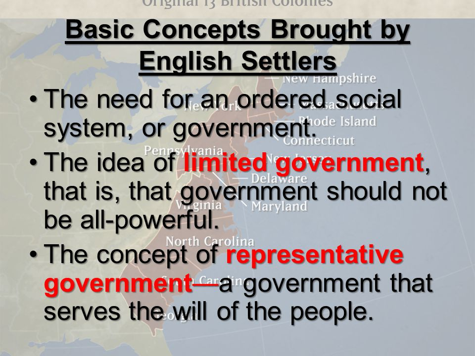 Basic Concepts Brought by English Settlers