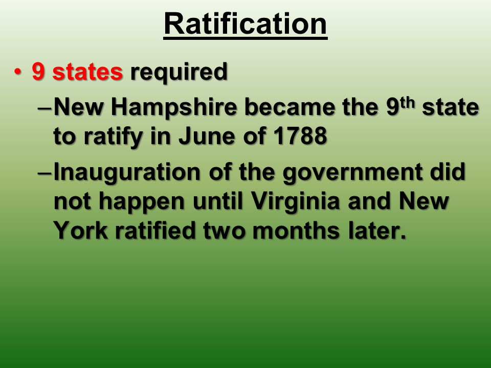 Ratification 9 states required