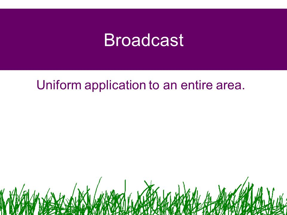 Uniform application to an entire area.