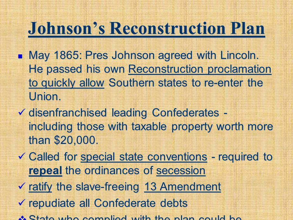 Johnson's Reconstruction Plan