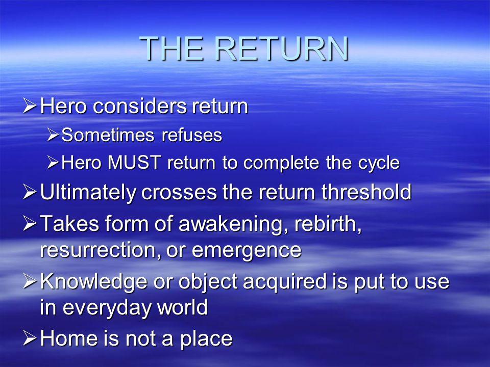 THE RETURN Hero considers return
