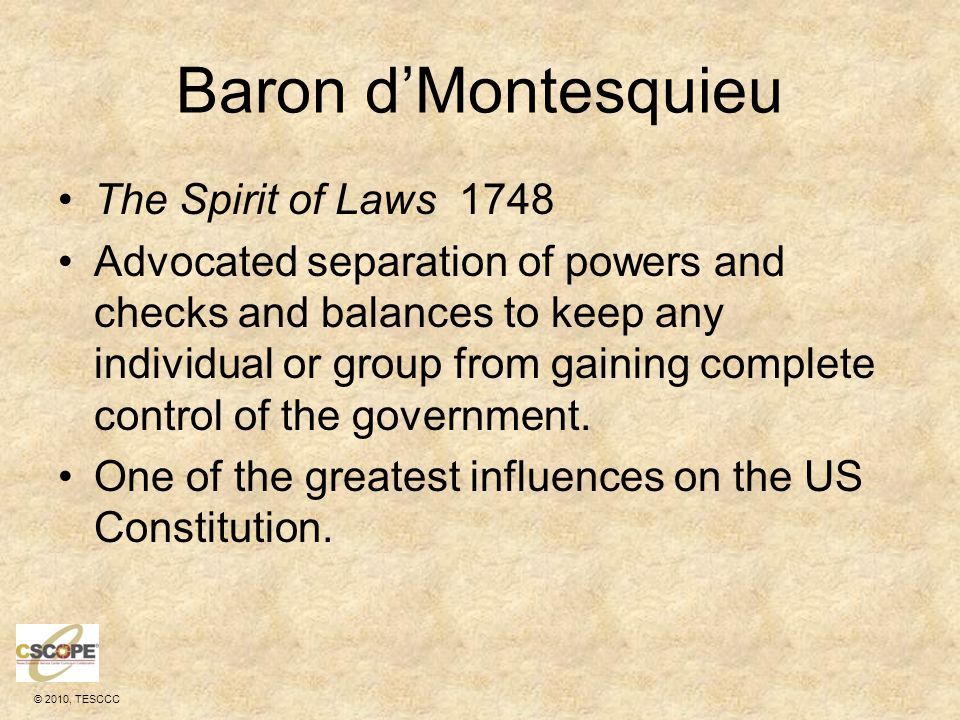Baron d'Montesquieu The Spirit of Laws 1748