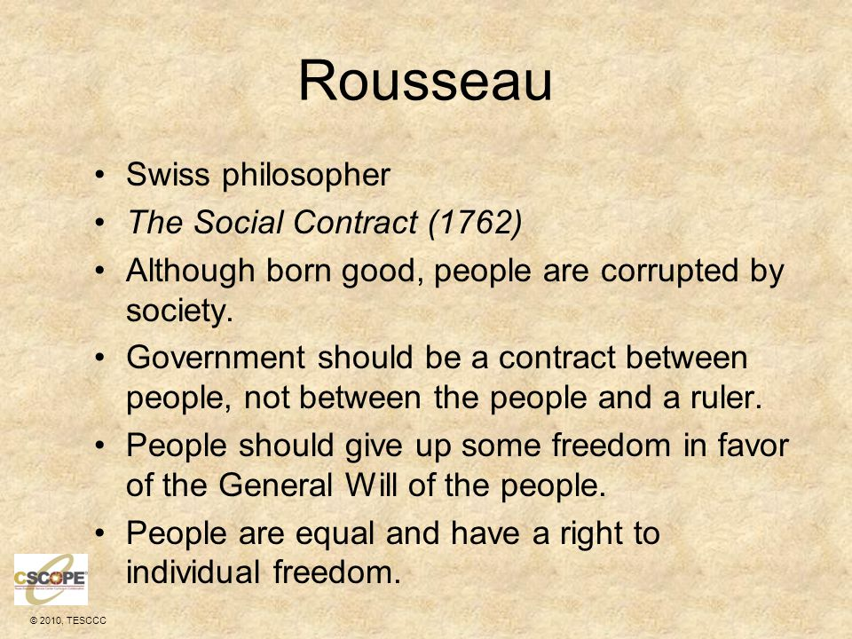 Rousseau Swiss philosopher The Social Contract (1762)