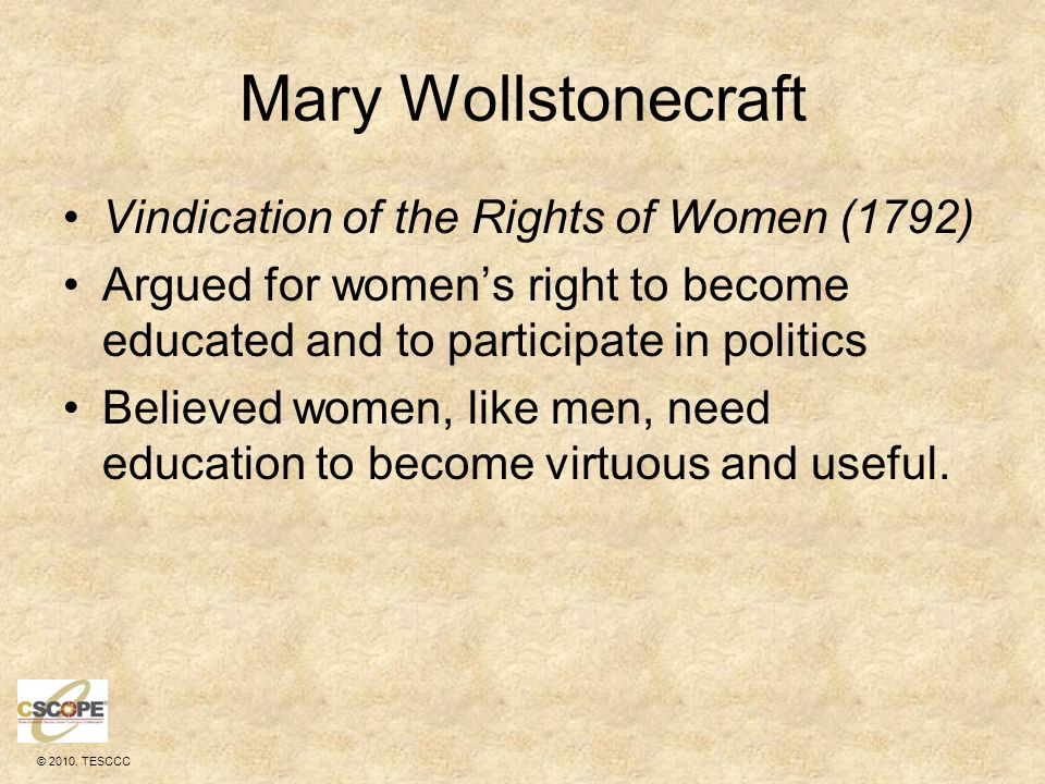 Mary Wollstonecraft Vindication of the Rights of Women (1792)