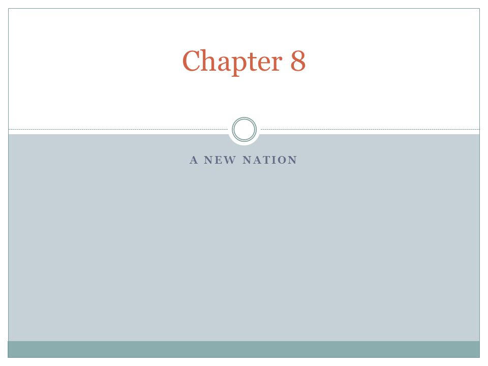 Chapter 8 A New Nation