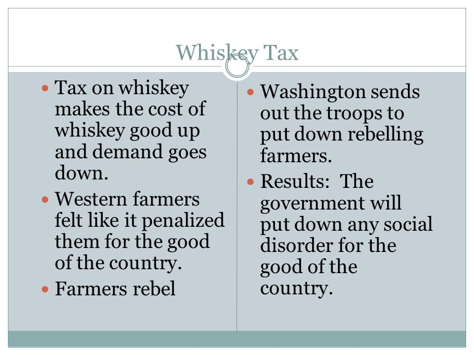Whiskey Tax Tax on whiskey makes the cost of whiskey good up and demand goes down.