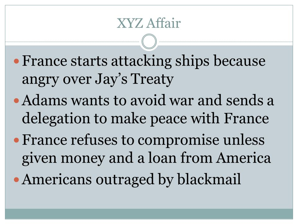 France starts attacking ships because angry over Jay's Treaty